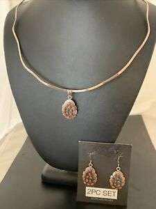 Mens Native Am Navajo Sterling Silver Red Coral Cluster Pendant Earrings 02155