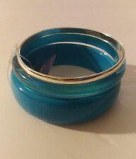 Claire's 3 Piece Bracelet Set - Blue & Silver - Bangles - Plastic & Metal