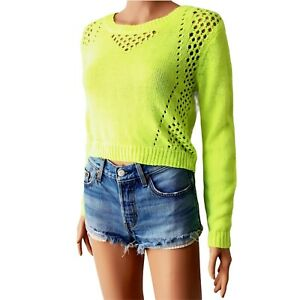 Charlotte Russe Crop Sweater Open Knit Punk Rock Lime Green Neon Small S