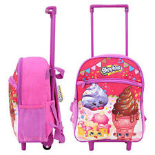 Toddler Kids Shopkins Preschool Rolling Trolley Wheels Backpack Bag Gift School