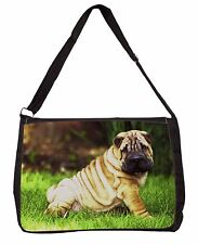 Cute Shar-Pei Dog Large Black Laptop Shoulder Bag School/College, AD-SH1SB
