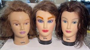 3 BURMAX COSMETOLOGY HEAD MANNEQUIN DELUXE 100% HUMAN HAIR 2 DEBRA 1 CATHERINE