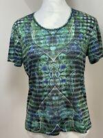 GERRY WEBER Women's Blue Green Short Sleeve T Shirt Top Size 12 Striped
