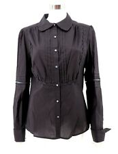 Max Studio L Large Top Womens NWT Black Pintuck Embroidered Button Front Shirt