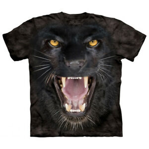 Aggressive Panther Face T-Shirt Oversized Animal Mountain 100% Cotton Adult