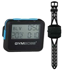 Gymboss Interval Timer and Stopwatch and Watchstrap - Bundle (Black w/ Blue