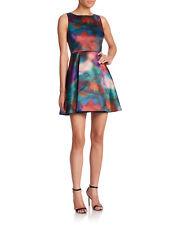 New Womens 10 NWT Designer Dress Alice + Olivia Watercolor Dress Lace Back Prett