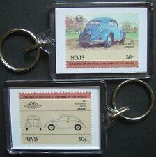 1947 VW VOLKSWAGEN BEETLE Car Stamp Keyring (Auto 100 Automobile)