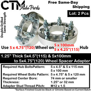 """2P 1.25"""" THICK 5x100 & 5x4.25"""" TO 5x4.75""""WHEEL ADAPTER SPACER FIT JAGUAR PONTIAC"""