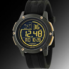 NEW DKNY BLACK TONE+GOLD ACCENT,BLACK SILICONE BAND,CHRONO DIGITAL WATCH-NY1391