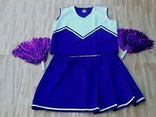 "Adult Plus Size Purple Cheerleader Uniform Top Skirt Pom Poms 42-44/36-40"" New"