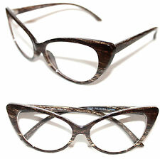 Cat Eye 50s Vintage Eye Glasses Retro Clear Lens Wood Print Frame Nikita Pin Up