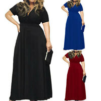 US Fashion Women's Solid V-Neck Short Sleeve Plus Size Evening Party Maxi Dress