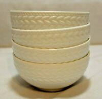 "Mikasa Tate White Bone China 4"" Small Fruit Bowls Set of Four New"