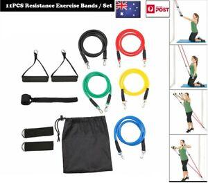 11PCs Resistance Band Set Yoga Pilates Abs Exercise Fitness Tube Workout Bands