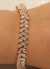 2Ct Diamond Tennis Bracelet 10k Rose Gold Finish 7.25 inch Valentines Day Gift