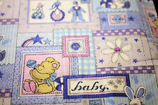 Fabric Baby Nursery Bunny Pastel Blue Pink Cotton Fat Quarter Quilting Material