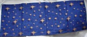 Navy Blue Festive Christmas Table Cloth Runner Gold Star Xmas Dinner 88cm X 34cm