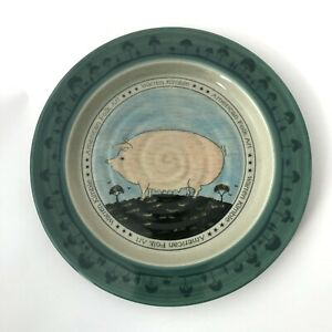 Otagiri Japan American Folk Art Pig Warren Kimble Plate Ceramic 8' Green Beige