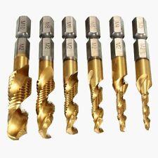 6pcs HSS Sae Drill Tap Combination Bit Set Deburr Countersink Hex Bit 1/4 Shank
