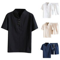 Men's Casual 2-Pc Spring/Summer Leisure Short Sleeve Walking Suit and Pants