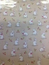Woodland Bunnies Pvc Coated 100% Cotton Fabric In Taupe By The Half Metre