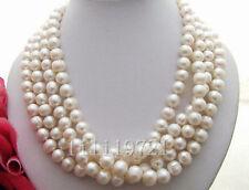 100% authentisch 9-10mm weiße Süßwasser Perlenkette 173CM