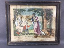 Ancien cadre bois nooir religieux vintage Geneviève de Brabant french antique