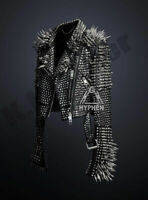Men's Black Punk Full Silver Long Spiked Studded Unique Classic Leather Jacket