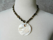 Genuine Mother of Pearl Abalone Shell with Tiger Eye Chip Stone Necklace
