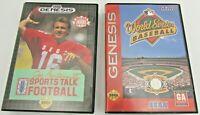 Lot Of 2 Sega Genesis World Series Baseball,Sports Talk Football w/ Original BOX