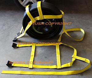 Car Tire Basket Straps Adjustable Wheel Net Set Flat Hook Fit DEMCO Tow Dolly