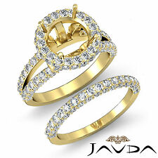 Pave Diamond Engagement Ring Bridal Set 14k Gold Yellow Round Semi Mount 2.28Ct