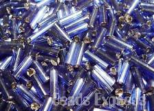 15g 450pc Silver Lined Glass Seed Bugle Beads 7mm - Blue