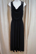 London Times Dress Sz 6 Black Sleeveless Cowl Neck Waist Tie Summer Wear Dress