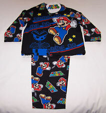 Nintendo Super Mario Boys Black Flannel Pyjama Set Size 3 New