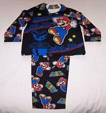 Nintendo Super Mario Boys Black Flannel Pyjama Set Size 3 New