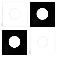 """12 SHEETS - BLACK & WHITE PAPER RECORD SLEEVES W/HOLES FOR 7"""" VINYL EPs (45RPM)"""