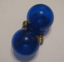 2 Transparent Blue Marquee/Sign/Amusement Park/Party/Patio Light Bulb E12 Base