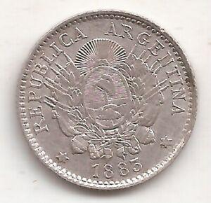 ARGENTINA 10 CENTAVOS DE PATACON AÑO 1883 MONEDA DE PLATA 900