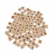100 Wooden Alphabet Tiles Black Letters & Numbers For Scrabble Children Toy #h