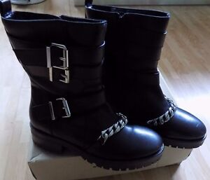 River Island ankle biker style boots size 5 black leather zipped brand new