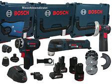 Bosch GSR 12V-15 FC + GOP 12V-28 + GWS 12V-76 Maschinen Set