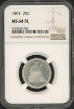 1891 Assis Liberty Quarts ( NGC Ms 64 Pl )