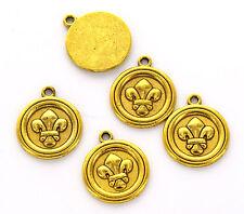 6 Gold Tone Circle FLEUR de LIS Charms Pendants chg0076