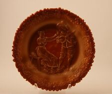 Vintage EAPG Greentown Glass Chocolate Glass Serenade Plate Small Size c.1900
