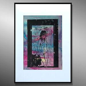 LINOLSCHNITT ABSTRAKTE MALEREI KUNST Original HANDGEMALT AKT - MICO ART 40x50