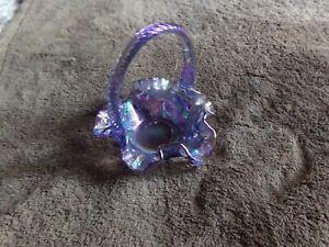 Fabulous Vintage Fenton Glass Basket - Carnival Glass Colors - Gorgeous - LOOK!!