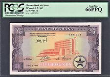Ghana 5 Pounds 1-7-1962 Pick-3d GEM UNC PCGS 66 PPQ