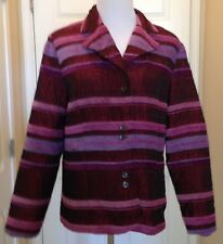 Coldwater Creek Jacket Blazer Red Lilac Textured Stripes Womens Size Large